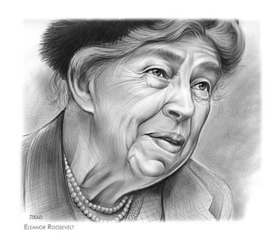 Politicians Drawings - Eleanor Roosevelt by Greg Joens