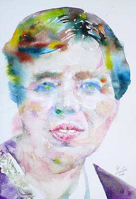 Painting - Eleanor Roosevelt - Watercolor Portrait by Fabrizio Cassetta