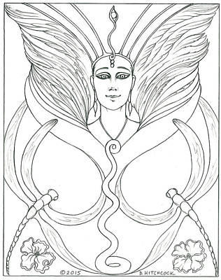 Wiccan Drawing - Spirit Guide Eleanora by Debra A Hitchcock