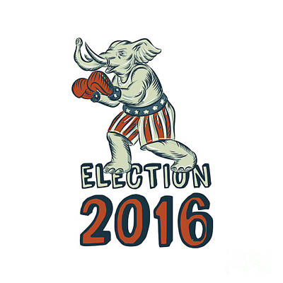 Election 2016 Republican Elephant Boxer Etching Art Print by Aloysius Patrimonio