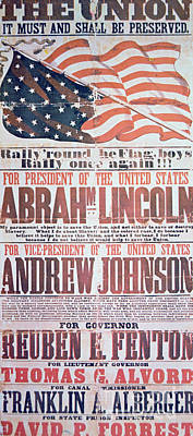 Blue And Red Drawing - Electoral Campaign Poster For Abraham Lincoln, 1864 by American School