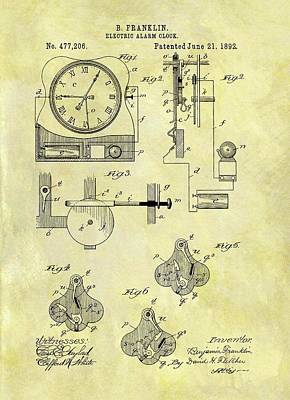 Minutes Mixed Media - Electric Alarm Clock Patent by Dan Sproul