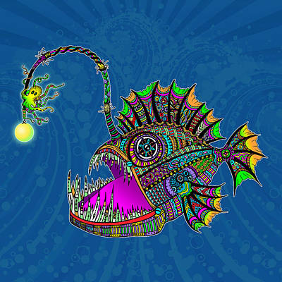 Trippy Digital Art - Electric Angler Fish by Tammy Wetzel