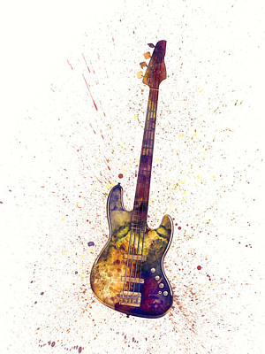 String Digital Art - Electric Bass Guitar Abstract Watercolor by Michael Tompsett