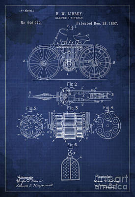 Velocipede Drawing - Electric Bicycle Patent Blueprint Year 1897 Blue Vintage Art by Pablo Franchi