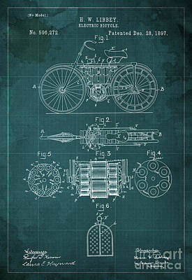 Velocipede Drawing - Electric Bicycle Patent Blueprint Year 1897 Green Vintage Art by Pablo Franchi