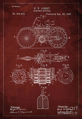 Velocipede Drawing - Electric Bicycle, Patent Blueprint, Year 1897 by Pablo Franchi