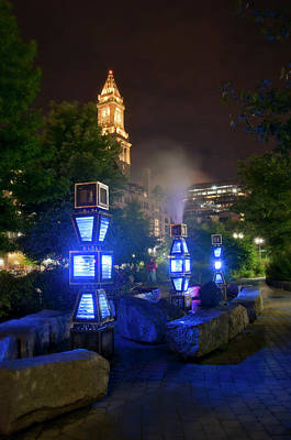 Photograph - Electric Blue - Harbor Fog - Rose Kennedy Greenway - Boston by Joann Vitali