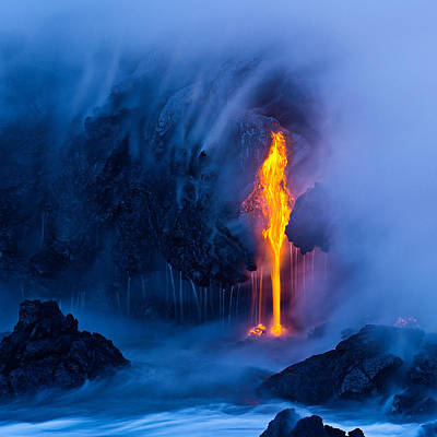 Volcano Photograph - Electric Blue by Miles Morgan