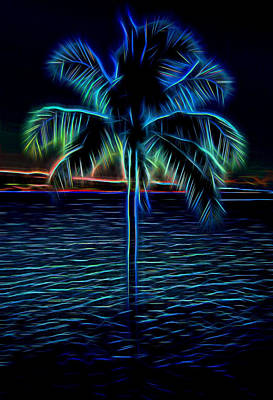 Mixed Media - Electric Blue Palm Tree by Pamela Walton