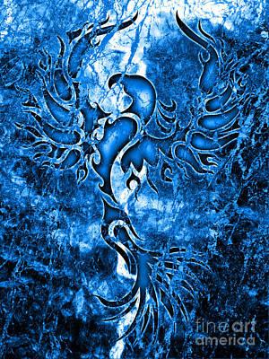 Electric Blue Phoenix Art Print by Robert Ball