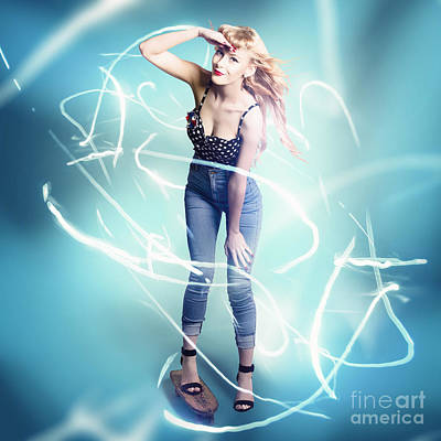 Manipulation Photograph - Electric Blue Skater Pinup by Jorgo Photography - Wall Art Gallery