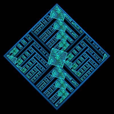 Electric Blue Squares Art Print