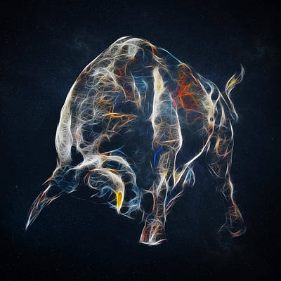 Bull Digital Art - Electric Bull by - BaluX -