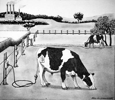 Electric Cows Original by John Houseman
