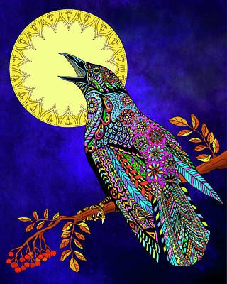 Psychedelic Drawing - Electric Crow by Tammy Wetzel