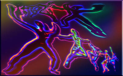 Shadow Dancing Mixed Media - Electric Dance - Abstract by Steve Ohlsen
