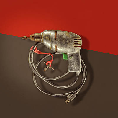 Photograph - Electric Drill Motor, Green Trigger On Colored Paper by YoPedro
