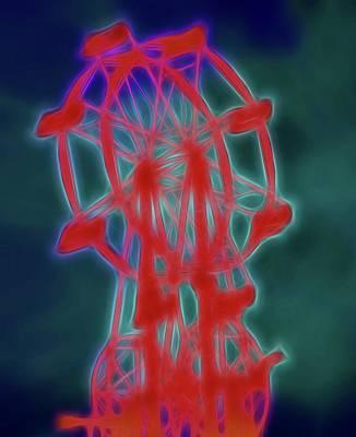 Cotton Candy Digital Art - Electric Ferris Wheel by Dan Sproul