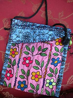A Hand Mirror Tapestry - Textile - Electric Flowers  Nomadic Bag by Krisha Fairchild