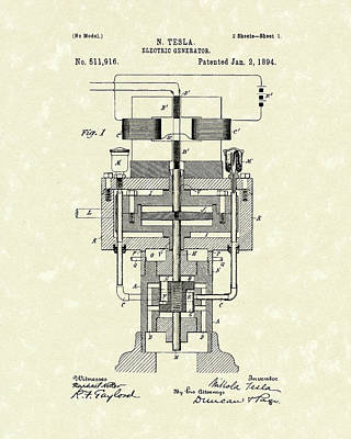 Drawing - Electric Generator 1894 Patent Art by Prior Art Design