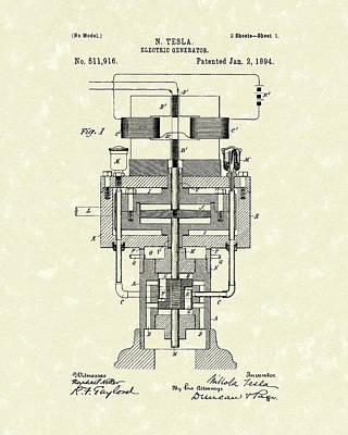 Electric Generator 1894 Patent Art Print by Prior Art Design