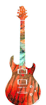 Folk Painting - Electric Guitar 2 - Buy Colorful Abstract Musical Instrument by Sharon Cummings