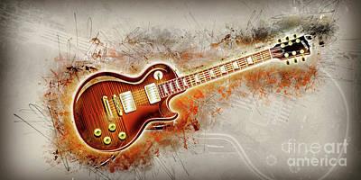 Sound Digital Art - Electric Guitar Art by Ian Mitchell