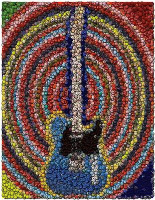 Art Print featuring the mixed media Electric Guitar Bottle Cap Mosaic by Paul Van Scott