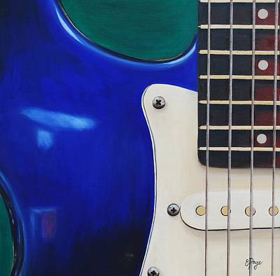 Heavy Metal Painting - Electric Guitar In Blue by Emily Page