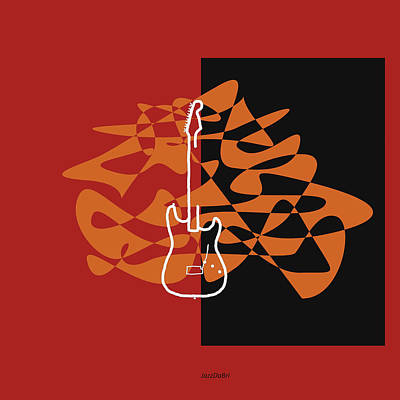 Digital Art - Electric Guitar In Orange Red by David Bridburg