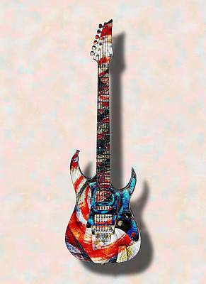 Digital Art - Electric Guitar - Psychobilly - Musical Instruments by Anastasiya Malakhova