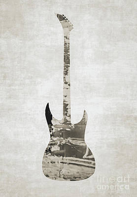 Photograph - Electric Guitar Sepia by Andrea Anderegg