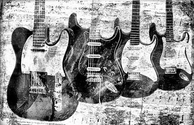 Photograph - Electric Guitars Black And White by Athena Mckinzie