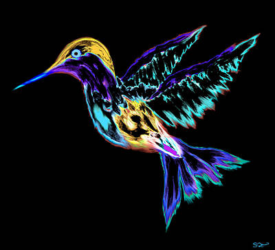 Conceptual Digital Art - Electric Hummingbird by Abstract Angel Artist Stephen K