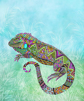 Drawing - Electric Iguana by Tammy Wetzel
