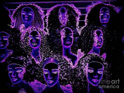 Balck Art Digital Art - Electric Ladies by Ed Weidman
