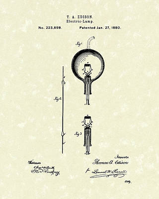 Electric Lamp 1880 Patent Art Art Print by Prior Art Design
