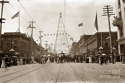 Photograph - Electric Light Tower Wa At The Intersection Of Market And Santa Clara Streets In San Jose From 1881  by California Views Mr Pat Hathaway Archives
