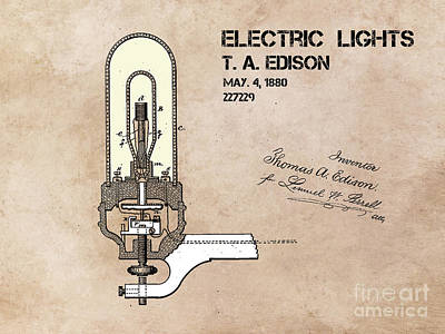 Patents Digital Art - Electric Lights Edison Patent Art by Justyna JBJart