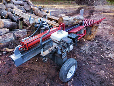 Woodpile Painting - Electric Log Splitter by Lanjee Chee