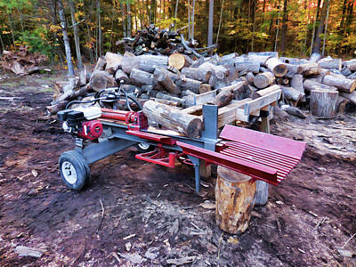 Woodpile Painting - Electric Log Splitter With Wood And Trunks by Lanjee Chee