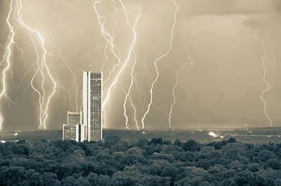 Electric Night - Cityplex Towers - Tulsa Oklahoma Sepia Print by Gregory Ballos
