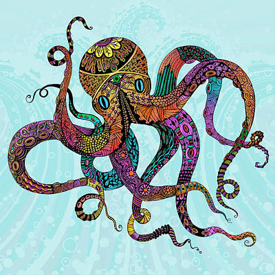 Digital Art - Electric Octopus-square by Tammy Wetzel
