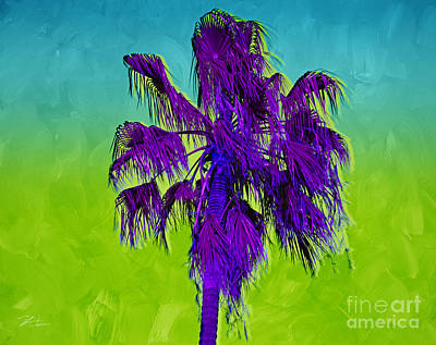 Mixed Media - Electric Palm Trees I by Shari Warren