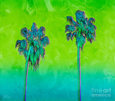 Mixed Media - Electric Palm Trees II by Shari Warren