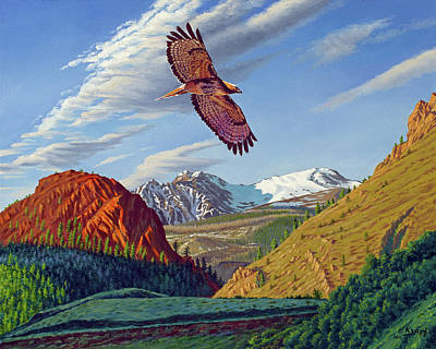Red Tail Hawk Wall Art - Painting - Electric Peak With Hawk by Paul Krapf