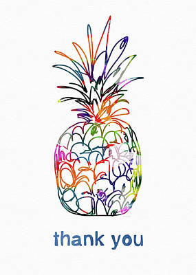 Electric Pineapple Thank You Card- Art By Linda Woods Print by Linda Woods