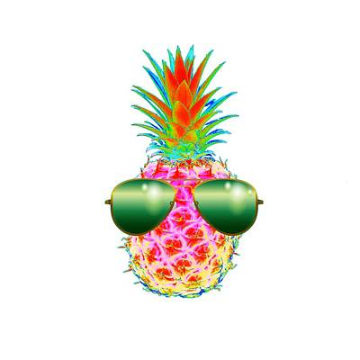 Pineapple Digital Art - Electric Pineapple With Shades by Marianna Mills