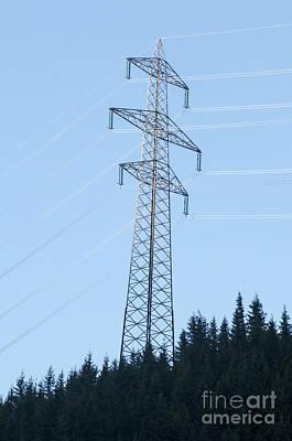 Electric Pylon Photograph - Electric Pylon On Blue Sky by Ilan Rosen
